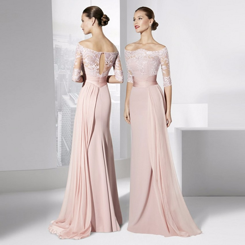 8205b0b6913 Skin Pink Evening Dresses 2016 Half Sleeves Chiffon Floor Length Formal  Dress Off the Shoulder Boat Neck Lace Women Party Gown