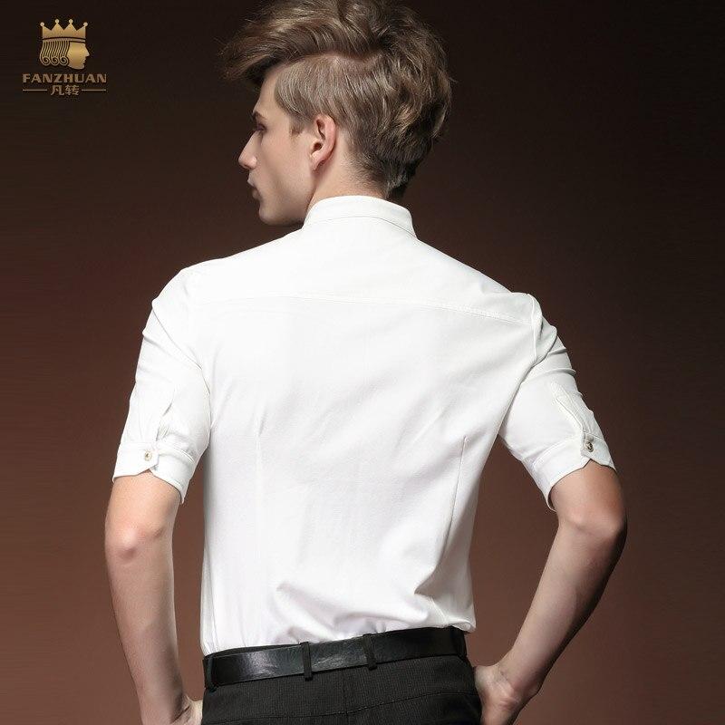 Gratuite Été Décontracté Mince Fanzhuan Stand Homme Blanc Col Blouse 1 Chemise Mode Manches Livraison 15304 2 De Masculine Nouvelle Demi Hommes dw1Cq1P