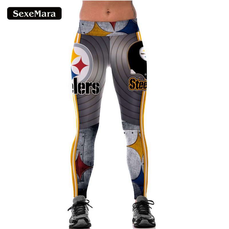 SexeMara 2017 New Fashion Women Leggings High Wasit Legging Steelers Printed Women Pants Aslgs0096