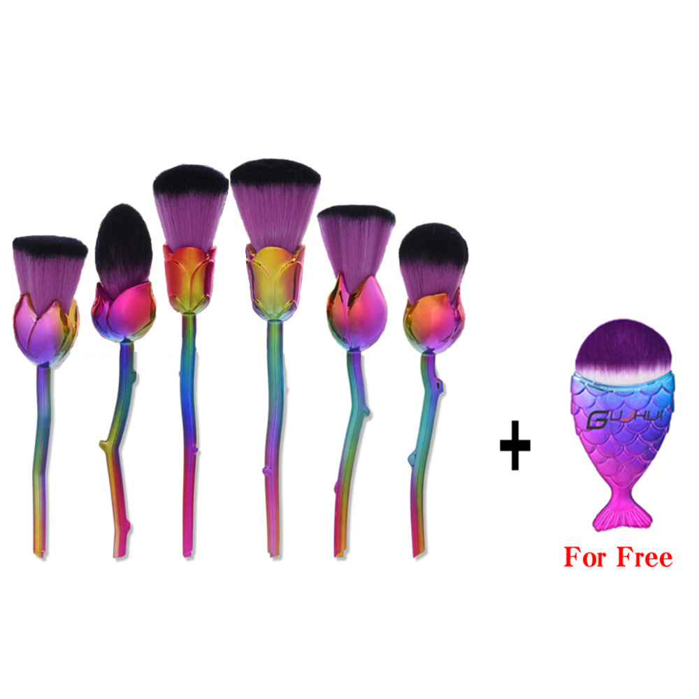 6Pcs Rose Flower Shape Makeup Brushes Set Foundation Blush Contour Concealer Powder Highlighter Make Up Brushes Free Fish Brush 1000g 98% fish collagen powder high purity for functional food