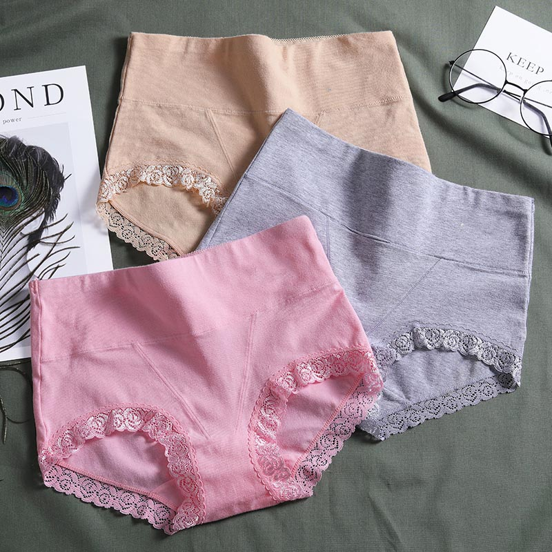 c809e7cc95b5 Aliexpress.com : Buy LANGSHA 3PCS/lot Cotton Panties Women High Waist Underwear  Sexy Lace Soft Comfort Women Briefs Seamless Slimming Girls Lingerie from  ...