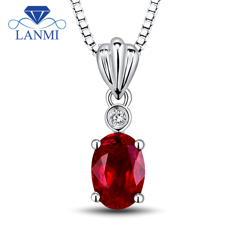 Solid 18k Solid Gold Natural Oval Cut 5x7mm Heated Red Ruby Pendant Without Chain Diamond Gemstone Jewelry WP057