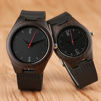 Lovers Gifts Luxury Royal Ebony Wood Watch Mens Fashion Wooden Women Dress Clocks Male Genuine Leather Valentine's Day Relojes