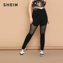 0b5e21f25a0c SHEIN Black Plus Cutout Waist Contrast Mesh Inset Sheer Skinny Long Plain  Leggings Women 2019 Spring Fashion Solid Pants