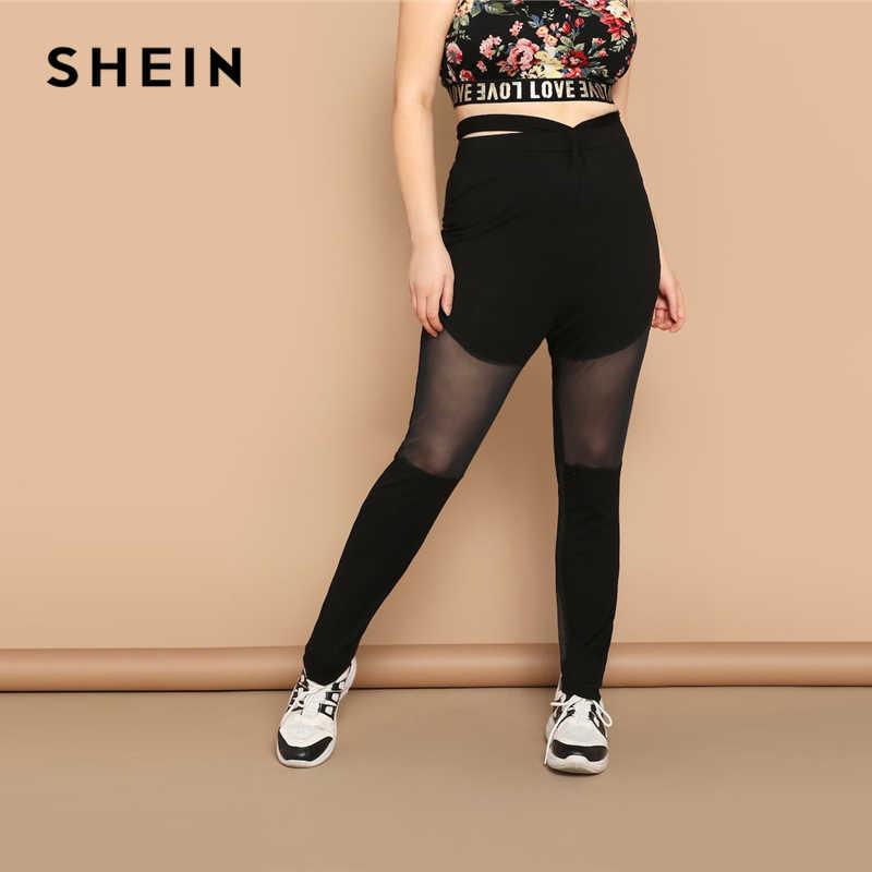 a67f5de279ad4 SHEIN Black Plus Size Cutout Waist Sheer Mesh Inset Skinny Women Long  Leggings 2019 Casual Activewear