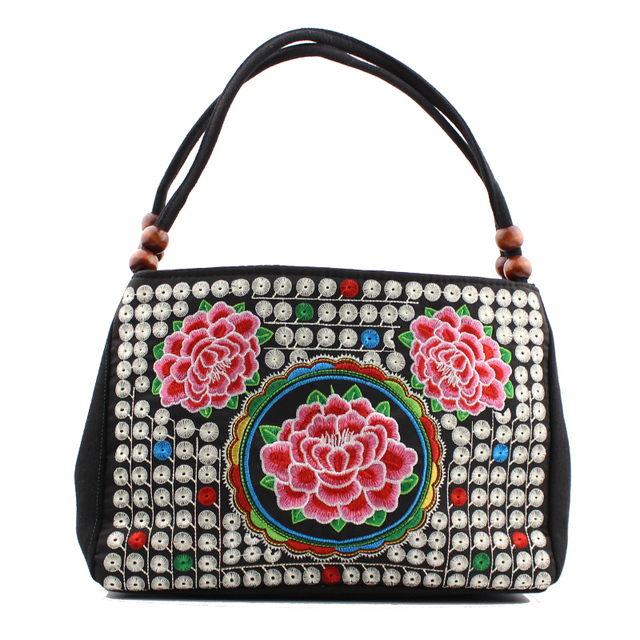 GX 2016 New National Trend Small Canvas Embroidery Ethnic Shoulder Bag Women Handmade Flower Embroidered HandBag Mochila