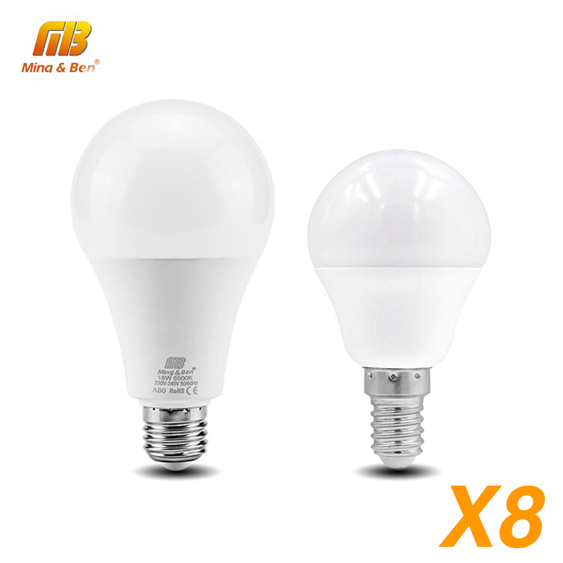 8pcs LED Lampada AC220V Light Bulb E27 E14 LED Bulb 18W 15W 12W 9W 7W 5W 3W Smart IC Chip Indoor Lighting  Ampoule Bombilla Lamp