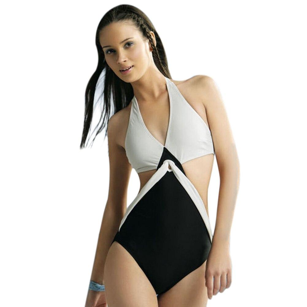 Black White Joint Color Push Up Padded Monokini One-Piece Bikini Swimsuit Triangle Swimwear Halter Neck Jumpsuits Bikini