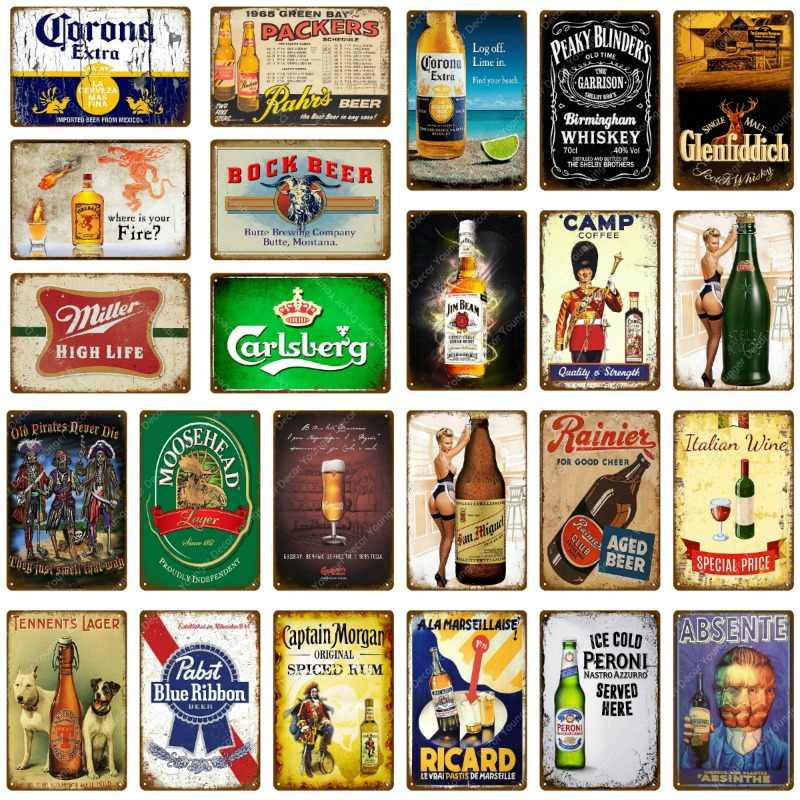 Ice Cold Drink Beer Metal Signs Vintage Plaque Home Pub Cafe Bar Decorative Plates Wall Sticker Wine Whiskey Painting Poster
