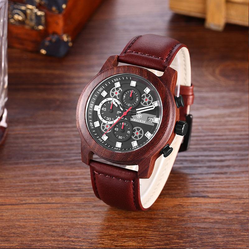 SIHAIXIN orologo Uomo cuero relojes de madera para hombre marca superior de lujo moda impermeable ejército militar deporte fecha hombre reloj # A regalo - 4