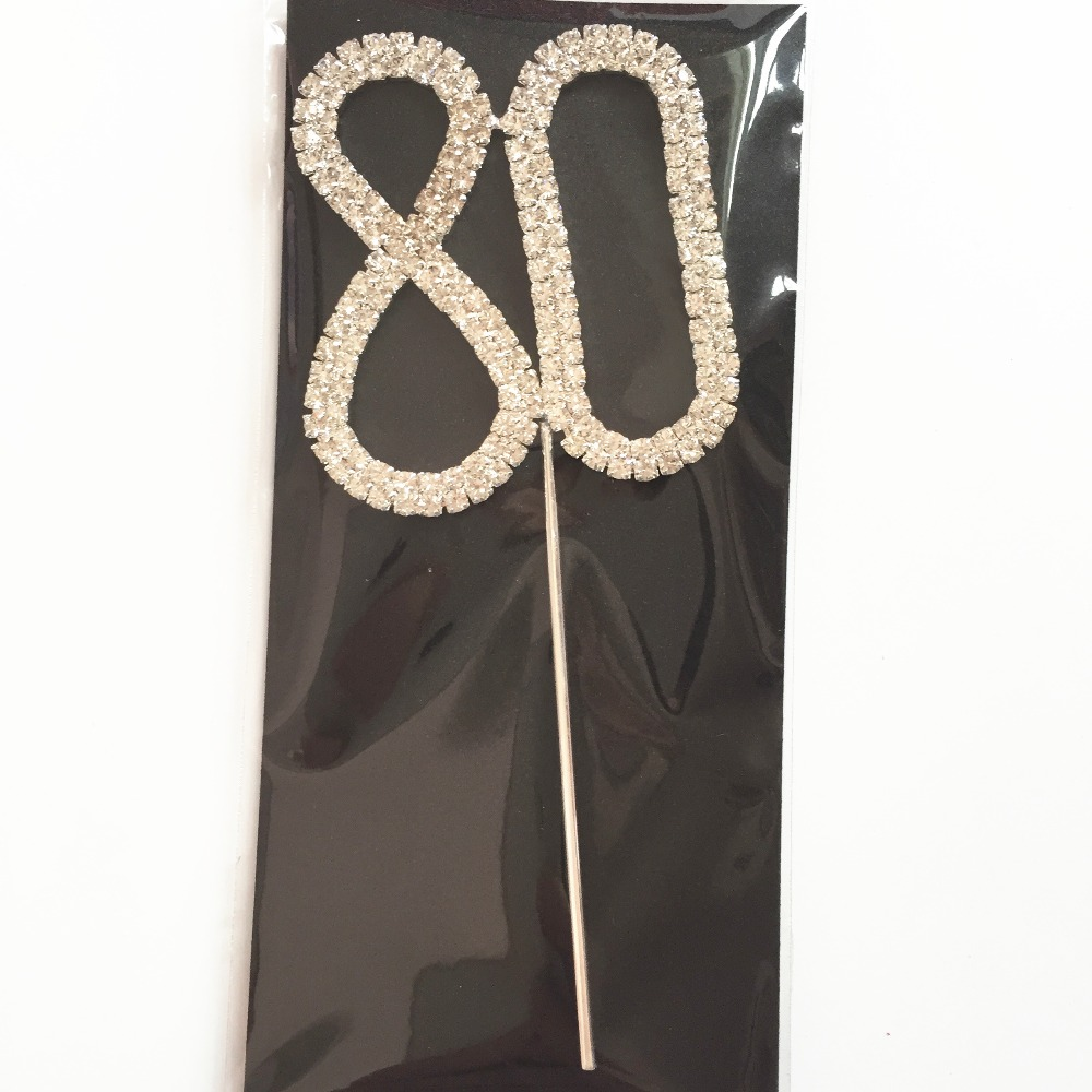 Happy Age 80th Birthday Decoration Kits Diamond Cake Cupcake Top Topper Rhinestone Number 80