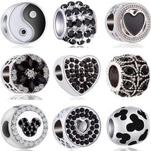 Black Color Small Long Music Shoe Panda Snake Mickey Mouse Charms Beads Fit Pandora Bracelets & Bangles for Women DIY Jewelry(China)