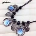Fashion hot leaves crystal necklace short necklace large chain necklace sweater chain