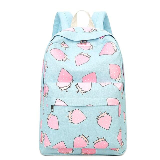 Harajuku Fashion Fruit Strawberry Printing Backpack To School Bag Black Rucksack Women Canvas Book Bags For