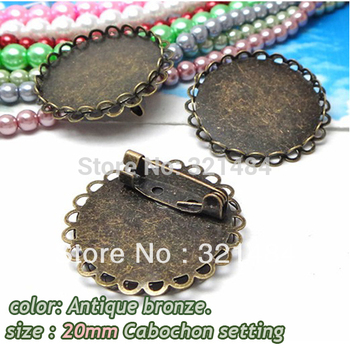 100pcs Antique brass bronze metal brooch safety pin with 20mm cabochon setting brooch blank base tray bezel findings acessories