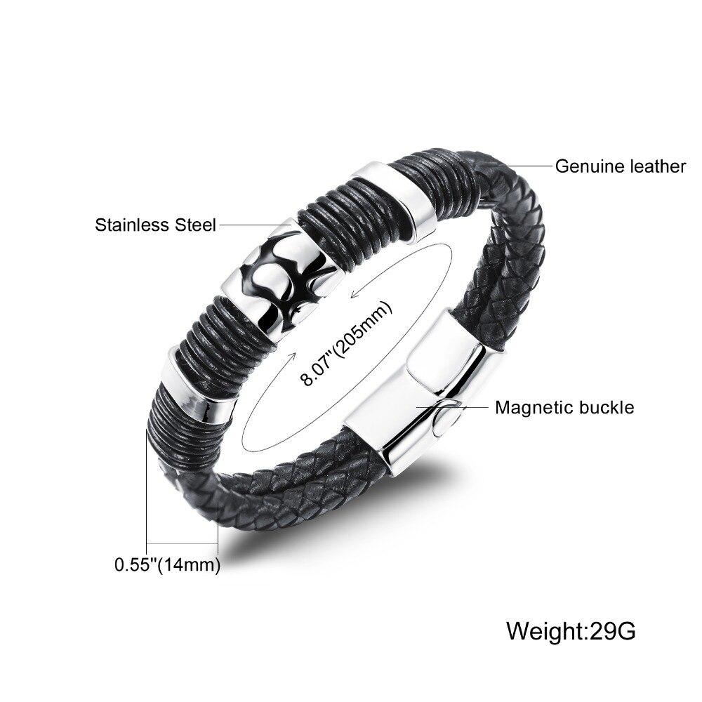 Trustylan Cool Black Genuine Leather Bracelet Men Fashion Jewelry  Vintage Bracelet & Bangles Brand New Men's