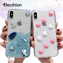 3D Pattern Cases For iPhone 7 8 Plus XR XS Max Fashion Cute Soft Silicone X Xs 6s 6 Epoxy Cloud and Love Cover