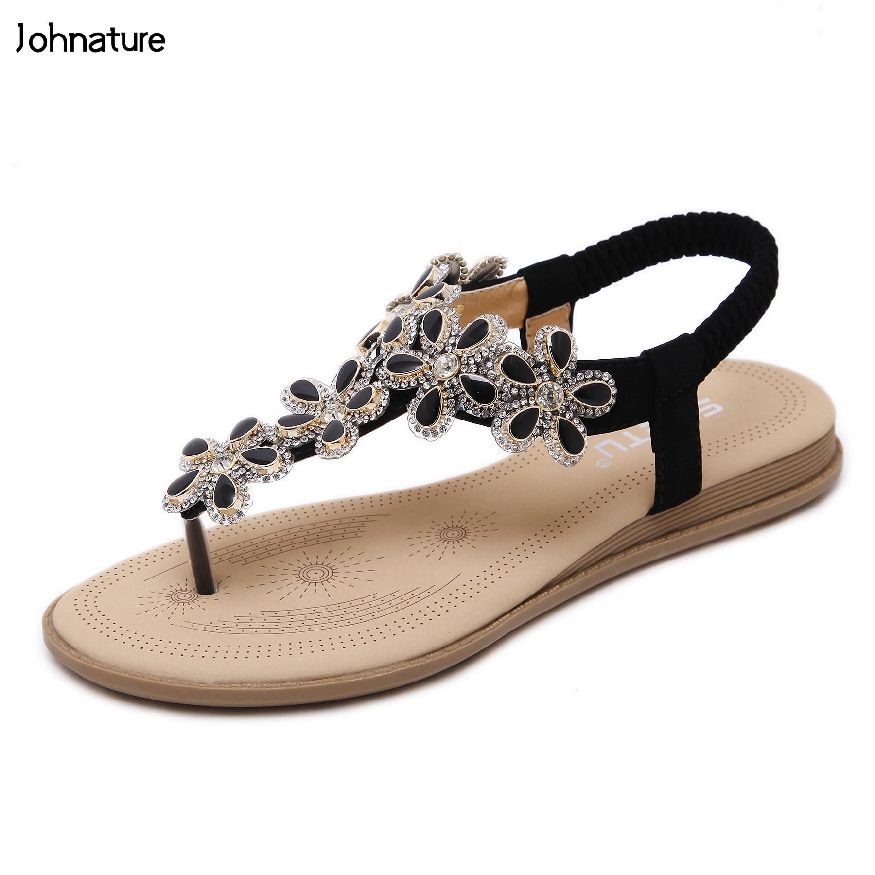 Новинка 2019 года; повседневные летние сандалии с эластичными лентами в этническом стиле; женская обувь на плоской подошве с ремешком сзади в