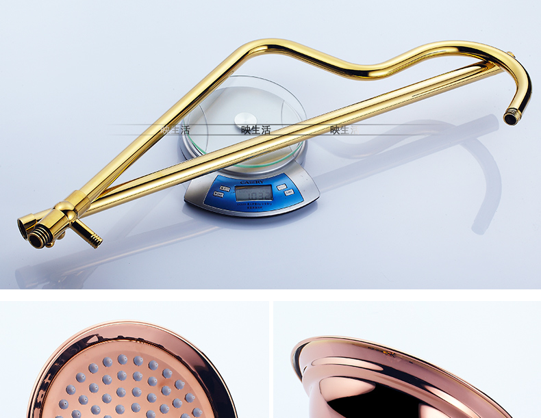 """Luxury Rose Golden Bathroom Shower Faucet Wall Mounted 8"""" Rain Showerhead Coming With Hand Spray Round Bar Mixer Shower Set"""