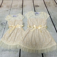 Ivory Rustic Girls Dress Country Western Party Girls Clothing Lace Baby Clothes Toddler Flower Girls Dress