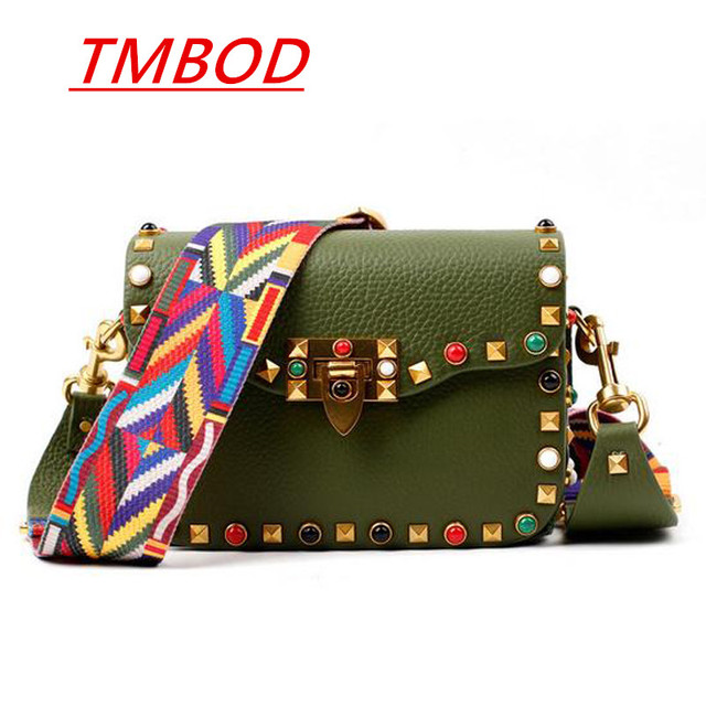 TMBOD Stud and lock style women genuine leather flap bag fashion street girl seeks chic handbags for couple punkY469