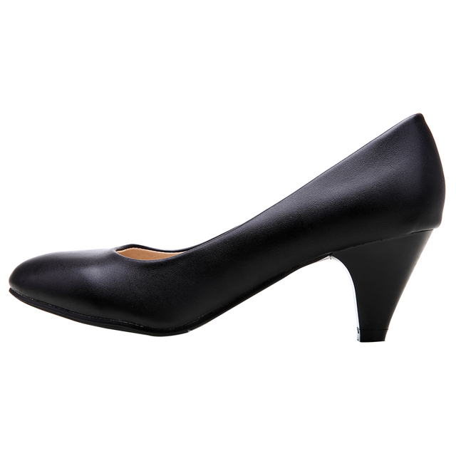 YALNN Women's  Leather Med Heels New High Quality Shoes Classic Black&White Pumps Shoes for Office Ladies Shoes 2