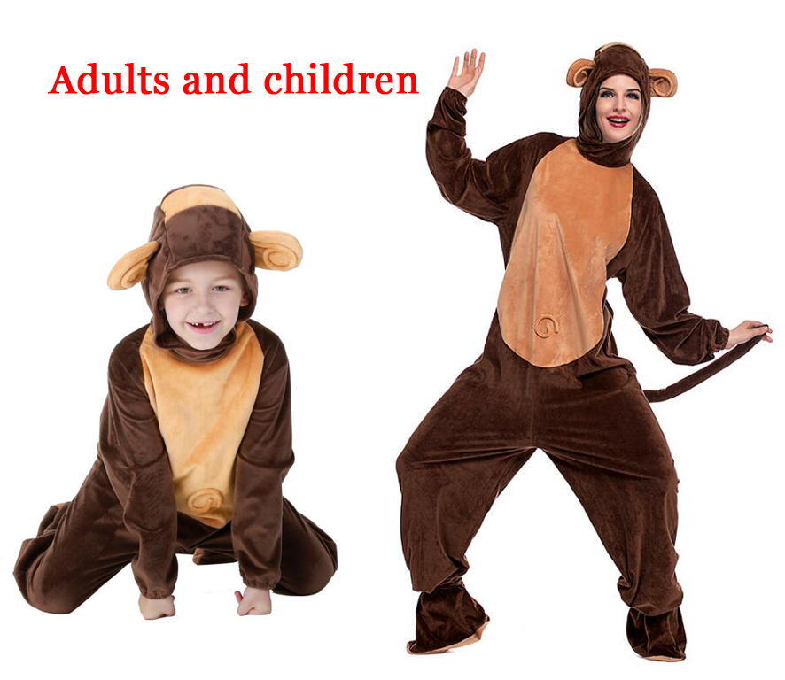 Monkey Costume For Adult Men Jumpsuit Cute Warm Thick Cosplay Polyester Fleece Animal Clothes Halloween Carnival Costume Women's Costumes Novelty & Special Use