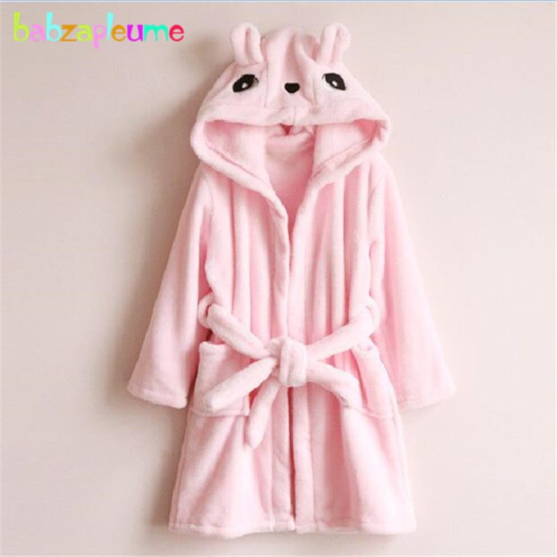 Autumn Winter Baby Girl Bathrobes Kids Dressing Gown Soft Flannel Warm Cartoon Hooded Children Robe Towel Toddler Boys Clothes
