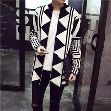 Fall 2017 youth long cardigan sweater male Stripe cardigan Fashion geometric patterns