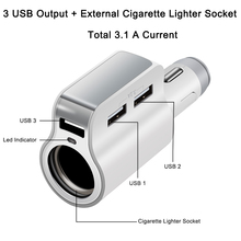 AUTO Car Charger 3.1A 3 USB Port + Cigarette Lighter Power Socket Slot Mobile Phone Charger For IPHONE Ipad Samsung Lenovo Z5 S5