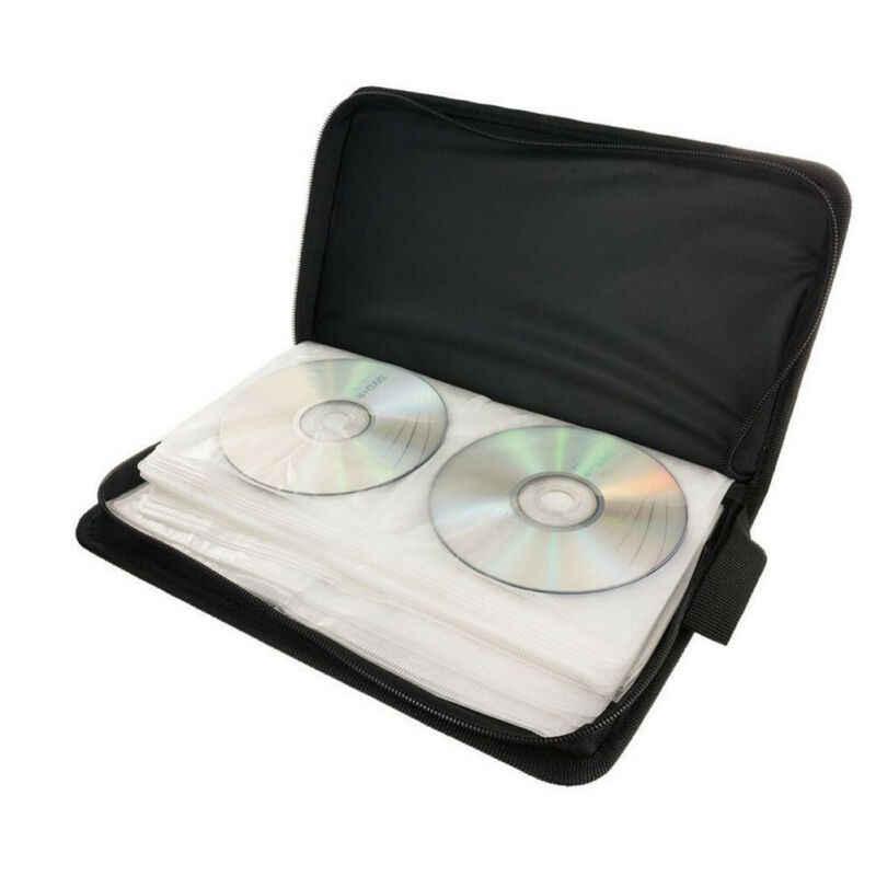 حار 80 كم CD DVD بلو راي القرص حقيبة التخزين حقيبة حامل حقيبة محفظة جلدية الأسود تخزين حلقة الموثق