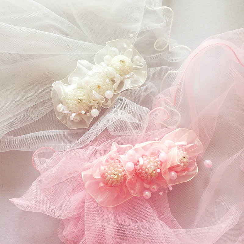1Pcs/lot Lace Pearl Hairpins Veil Flower Wedding Dress Hair Accessories For Children Girl Sweet Hair Clip Barrette Girl Headwear women girl bohemia bridal peony flower hair clip hairpins barrette wedding decoration hair accessories beach headwear