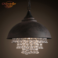 цена на Industrial Wrought Iron Hanging Lamp Vintage Retro Crystal Pendant Light Edison Metal Hanging Lighting Fixture