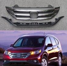 1 Set Chromed Front bumper radiator upper grille with lower bar jaw for HONDA CRV 2012-2014 цена