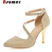 ASUMER большой размер 32-43 тонкие каблуки острым носом босоножки женщины насосы мода пряжки высокий каблук пу партия обуви золото серебро леди обуви