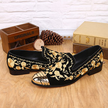 Gold Embroidery Designer Mens Shoes Slip-On  Chaussures Laofers