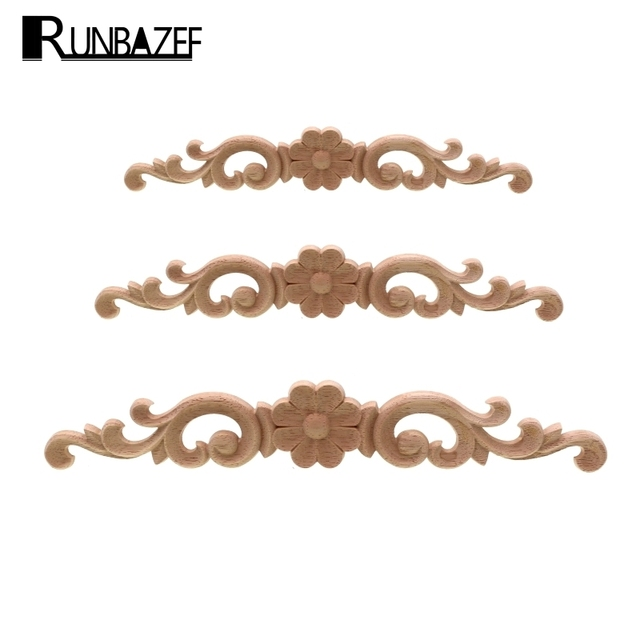 RUNBAZEF European-style Home Decorates Dongyang Wood Carving White Embryo Long Applique Door Bed Decorative Flower Piece Kawaii 1
