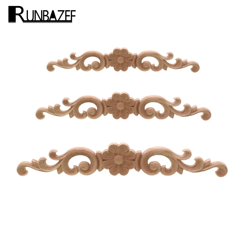 RUNBAZEF European-style Home Decorates Dongyang Wood Carving White Embryo Long Applique Door Bed Decorative Flower Piece Kawaii