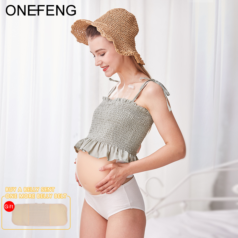 ONEFENG New Style Skin Artificial Fake Silicone Jelly Belly Baby Bump Doll Pregnant Belly 1000-1500g/pc