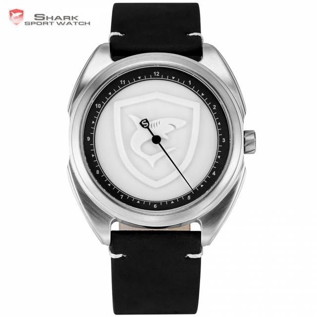 5279cf2fd34 Colarinho Tapete Logotipo Relógio Do Esporte Tubarão 3D Branco Um Simples  Hora Mão Design Pulseira De Couro de Quartzo Dos Homens Relógios Reloj  Hombre ...
