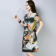 c05b83e10f8 Vintage Chinese Style Print A-line Dress Woman Clothing new Summer Dresses  Ladies Loose Cotton