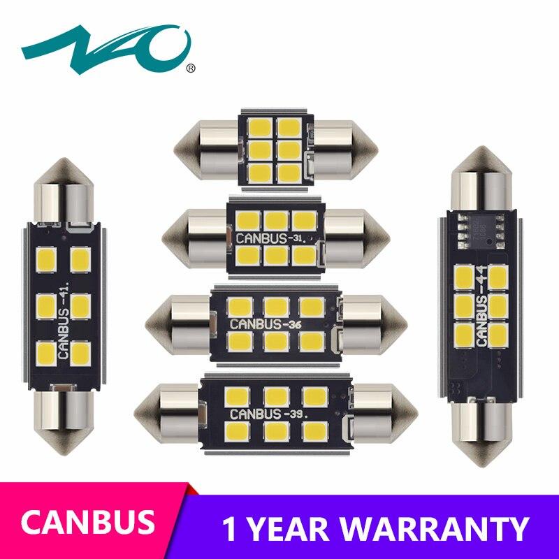 6 x Car Interior Light Bulb 5050 SMD LED 42MM Car-Dome Can bus Festoon Lam 2H 2X
