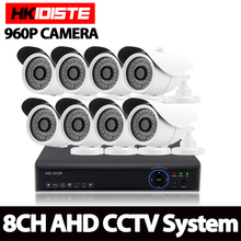 AHD 8CH CCTV System 1080P HDMI DVR White 960P 2500TVL Outdoor Weatherproof CCTV Camera set Home Security System Surveillance Kit