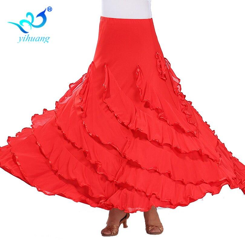 Flamenco Dance Costume Skirt Ballroom Dancing Long Skirts Ladies Waltz Modern Standard Tango Dancewear Outfits for Women