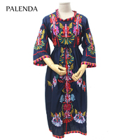 2019 new embroidery dress boho high waist cotton soft fabric