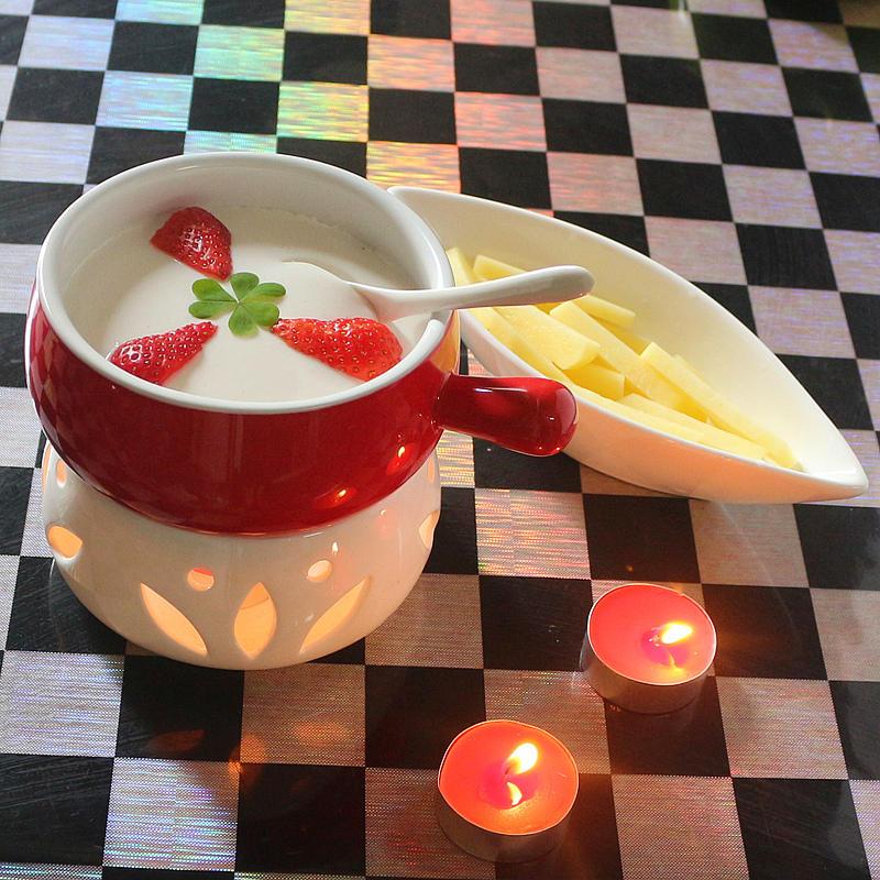 300ml Cheese Tool Ceramic Chocolate Boiler Hot Pot Hagendazs Ice Cream Fondue Cheese Cooker Lovely Leisure Time