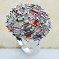 Peridot Pink Simulado Sapphire Garnet Morganite Plata Esterlina 925 Calidad Joyería de lujo Del Anillo de bodas Tamaño 6 7 8 9 10 F1133