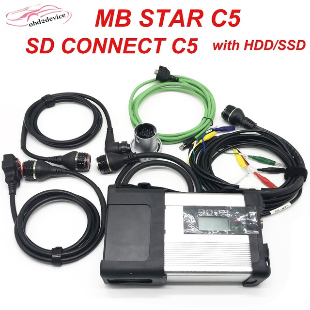 Special Price WIFI MB Star C5 Multiplexer with 5 Cables and Software HDD Car Scanner SD Connect C5 Professional Diagnostic tool Replace of C4