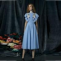 Подиумные платья Для женщин Лето Элегантный тонкий синий Аппликации шифон длинное платье дамы Повседневное платье с оборками