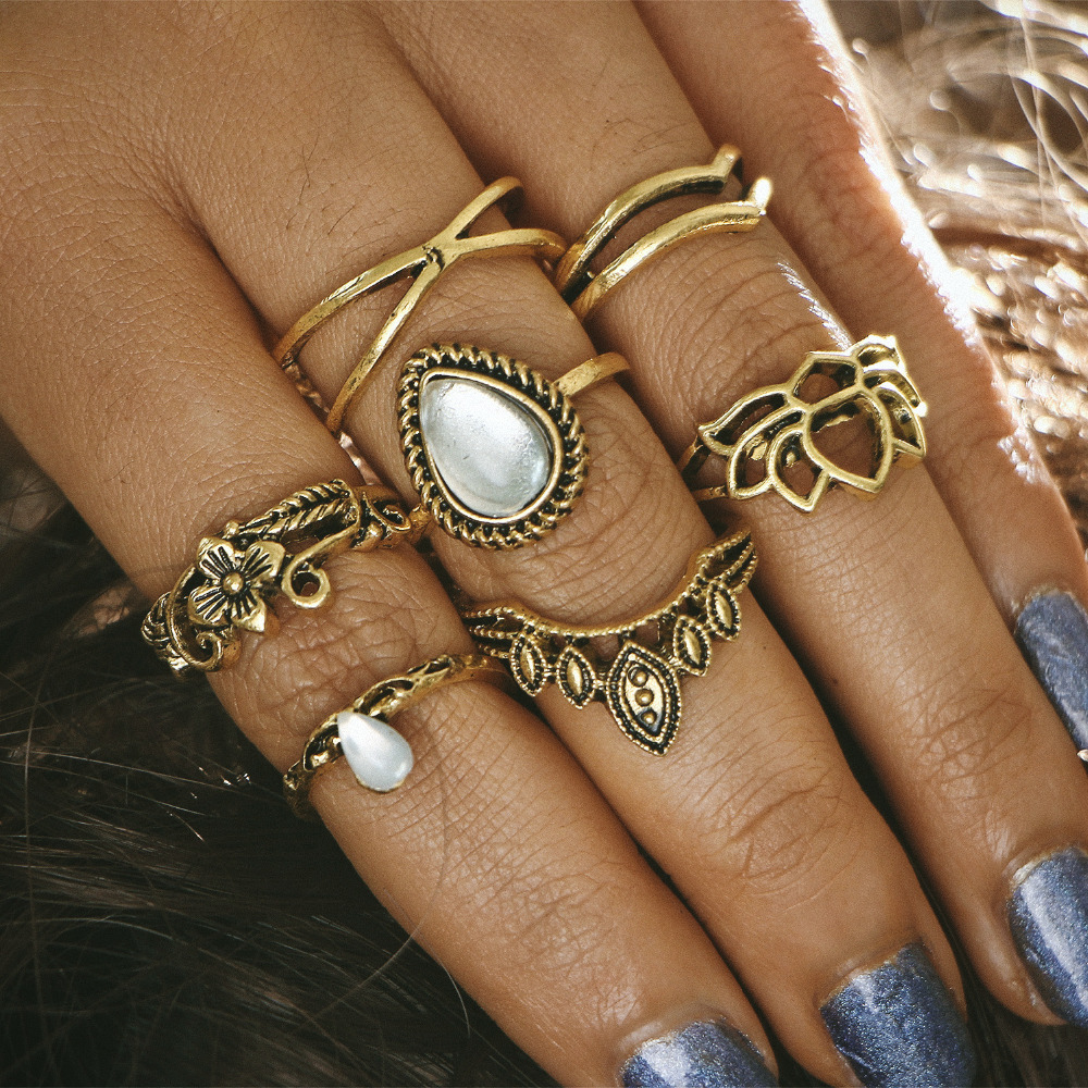 7 pieces/set Midi Finger Rings Set For Women Antique Gold Silver Color Flower Leaf Hollow Crown Cross Mid Knuckle Ring Jewelry